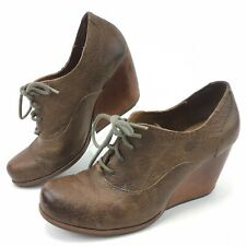 Korks Kork Ease Womens Oxford  Wedge Heels 1920s Brown Shoes Leather Size 8 / 39