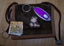 NICI Plush MONKEY WALLET w/ID Holder & 2 Zippered Pouches  w/ FREE LED Keychain!