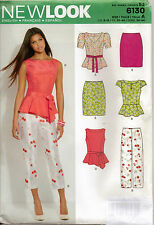 From UK Sewing Pattern Peplum Top Skirt Pants 8-18 us #6130