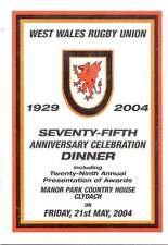Gales Occidental RU 75º Anniv cena de celebración 21 de mayo de 2004 Rugby menú & Programa