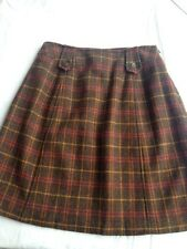Harolds size 2 Short A-Line Plaid Wool Skirt Brown Red Yellow Sz 2 (LB20)