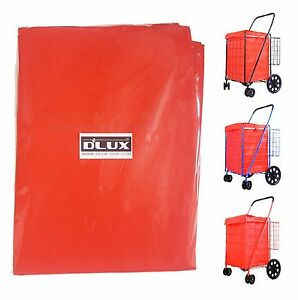 DLUX Liner Bag Waterproof Cover Only for Folding Shopping Cart Basket (Red)