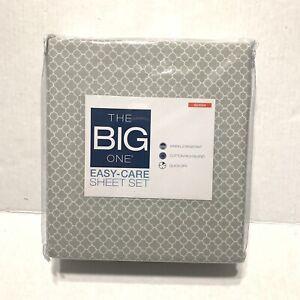 The Big One Queen Sheet Set - Gray Trellis NWT