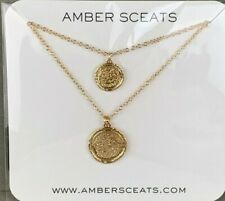 Amber Sceats - Double Coin Necklace, Gold Colored Plating - New in Package