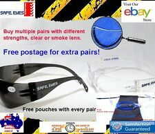 Bifocal Reading Safety Glasses  Grey or clear lens Readers Mixed strengths