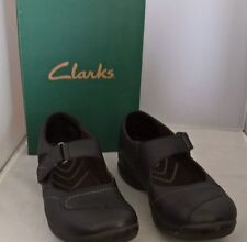 CLARK'S IN-Motion FLEX  Black Leather Mary Jane's style Women's shoe sz 7 Flat