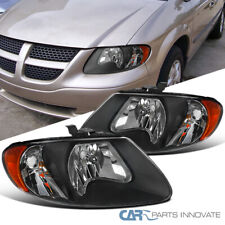 Black/Clear Headlights Fit 01-07 Caravan Town & Country 01-03 Voyager Lamps Pair