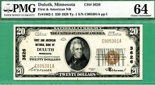 1929 $20 NBN - FIRST and NATIONAL BANK of DULUTH MINNESOTA - PMG CU 64 - Type 1