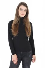 Womens Ladies 45% Cotton Roll High Neck Polo Turtle Top Jumper Full Sleeve Tops