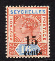 Seychelles 15 Cent on 16 Cent Stamp c1893 Mounted Mint Hinged (8420)