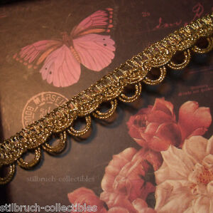 """Antique vtg gold metallic metal trim double loops braid lace lamp-shade 5/8"""" BTY"""