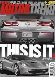 Motor Trend Auto Magazine Chevrolet Corvette Stingray Viper ZR1 Mustang Camaro