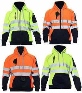 Hi Vis Visibility 2 Tone Zipped 3 Zip Hooded Hoody Sweatshirt Jacket Top S-5XL