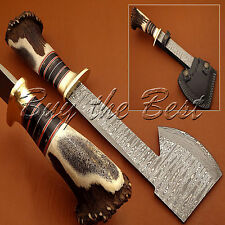 BEAUTIFUL CUSTOM HAND MADE DAMASCUS HUNTING TOMAHAWK AXE KNIFE HANDLE STAG END