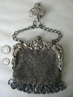 Antique Silver Repousse Floral Steel Bead Chatelaine Belt Clip Kilt Coin Purse