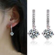 Women Fashion Jewelry Silver Cubic Zirconia CZ Round Hoop Drop Dangle Earrings