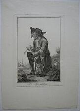Le Speculateur Der Grübler Orig Kupferstich Robert Brichet 1784 Charaktere