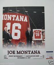 JOE MONTANA signed/auto'd SAN FRANCISCO 49ers Jersey Retirement 16x20 Photo--PSA