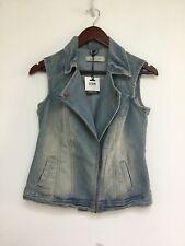 New Crossroads Au 8 $44.95 Denim Biker Key Looks Stone Wash Crop Jacket Vest