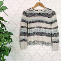 Lucky Brand Boho Knit Blue Striped Cropped Fringe Sweater Size Medium