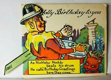 More details for antique noddy birthday card moving drummer feature 5 x 4 inches
