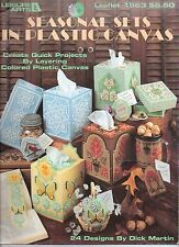 USED SEASONAL SETS TISSUE COVERS COASTERS & MORE PLASTIC CANVAS PATTERN BOOK