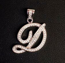 """NEW!! 925 Sterling Silver CZ Letter Initial """"D"""" Pendant Necklace"""