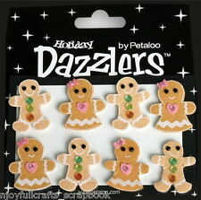 GINGERBREAD People Decorated x 8 Pack BROWN & WHITE 25x30mm 2-3mm High StickerL6
