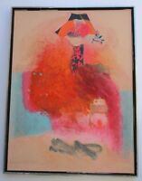 LARGE ABSTRACT EXPRESSIONISM PAINTING MODERNISM SIGNED CHINESE INFLUENCED GIBBS