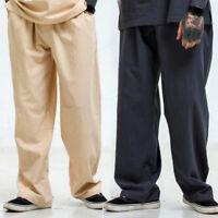 Mens Oversized Drawstring Trousers Linen Loose Straight Leg Pants Casual Slacks