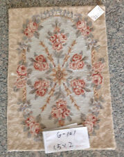 1.5' X 2' Handmade Small Needlepoint Rug Aubusson Design Pastel Rose Floral