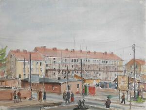 """Kliefert, Erich (1893 Berlin – 1994 Stralsund) """"Neubaugebiet in Stralsund"""" 1962"""