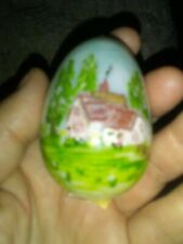Vintage Bristol Glass Decorated Egg
