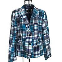 Talbots Plaid Patchwork Jacket Blazer 100% Cotton Lined Long Sleeve Blue Size 8