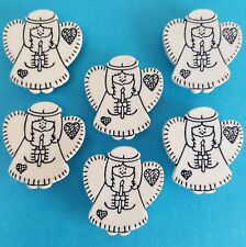PATCHWORK ANGELS White Christmas Candle Halo Folk Novelty Plastic Craft Buttons