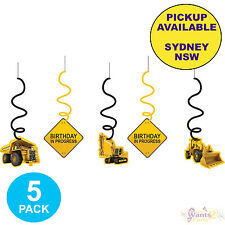 CONSTRUCTION ZONE PARTY SUPPLIES 5 HANGING DANGLERS SWIRLS BIRTHDAY DECORATIONS
