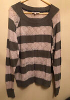 FAT FACE Ladies Striped Jumper in Size UK 18 Women Adults Grey/pale Pink