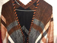 PONCHO CREAM & BROWN  not lined  good condition  light and warm