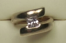 Chunky Silver Wrap-Style Ring with Square Cubic Zirconia Gemstone  2009624
