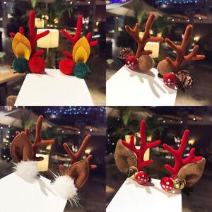 2 Pair Lady Girl Christmas Antlers Hair Clip Xmas Barrette Deer Horns Hairpin