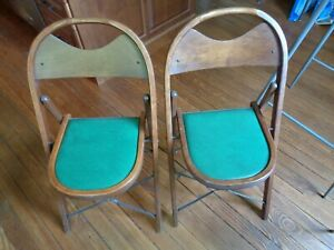 Vintage Pair(2) Cushioned Folding Chairs General Sales Co. Highpoint N.C.