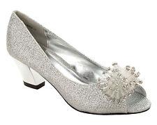 Mujeres Plata Brillo Boda Nupcial Noche Fiesta Tribunal Zapatos Damas Tamaño