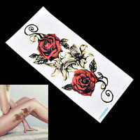 autocollant de tatouage temporaire rouge Rose fleur bras corps imperméable WW