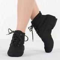 Women Men UNISEX Modern CANVAS Jazz Ballet Dance Shoes Lace Up Boots  8