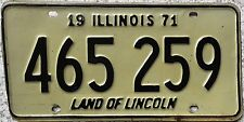 GENUINE 1971 Illinois Land of Lincoln USA License Licence Number Plate 465 259