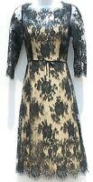 CAROLINA HERRERA Black Floral Lace Overlay Scalloped Fringe Beige Lined Dress 2