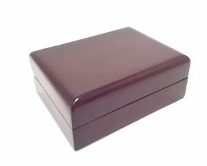 1 X Cherry Wood Necklace Jewellery Gift Display Case Hinged Box, 10cm x 7.5cm
