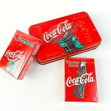 Rare Coca Cola 2 Decks of Sealed Playing Cards in Weathered Tin made by Bicycle.