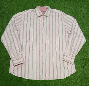 Tommy Bahama Jeans Men's Pink & Gray Striped Silk & Cotton LS Shirt Size XL