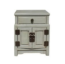 Chinese Distressed Light Gray Metal Hardware End Table Nightstand cs3917